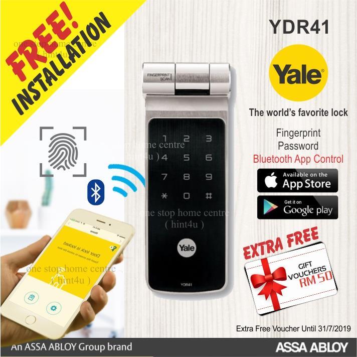 Yale YDR 41 jimmy proof Fingerprint , App , Pin Code Digital Door Lock