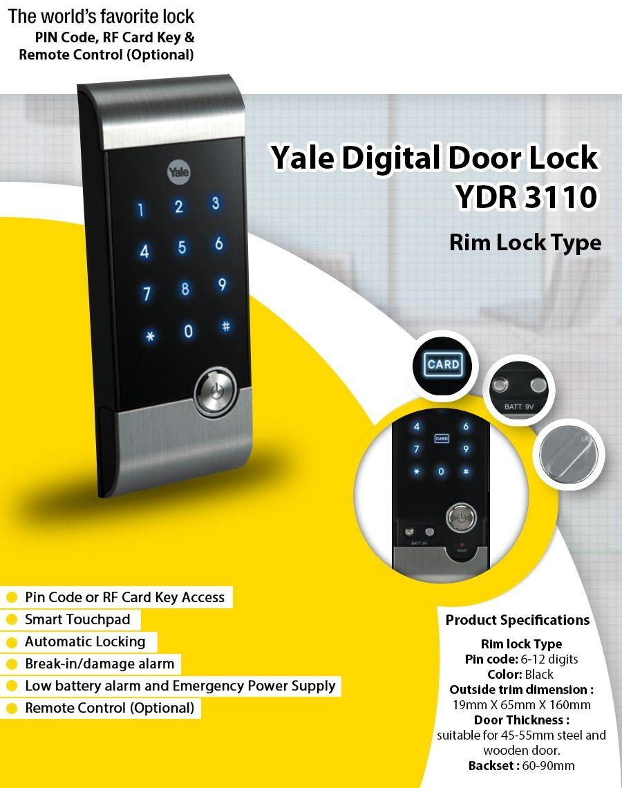 Yale YDR3110 RF Card Access Pin Code Digital Rim Lock