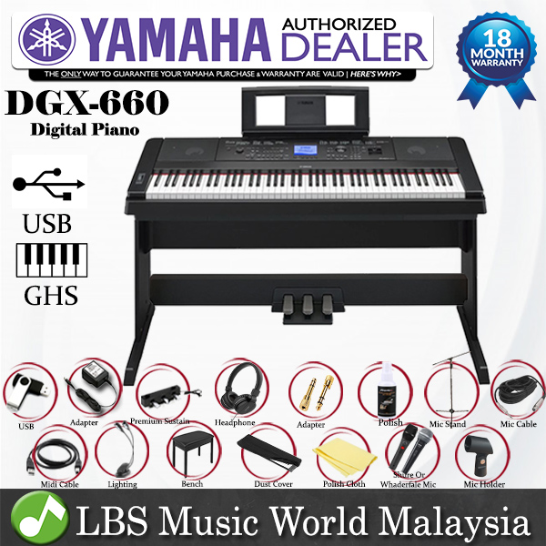 Yamaha DGX-660 Digital Piano Black Performance Package with Mic and Mi
