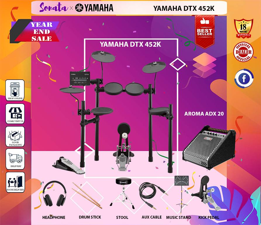 YAMAHA DTX-452K DIGITAL DRUM KIT + ADX20 (DTX 452 / DTX452K) PACKAGE C