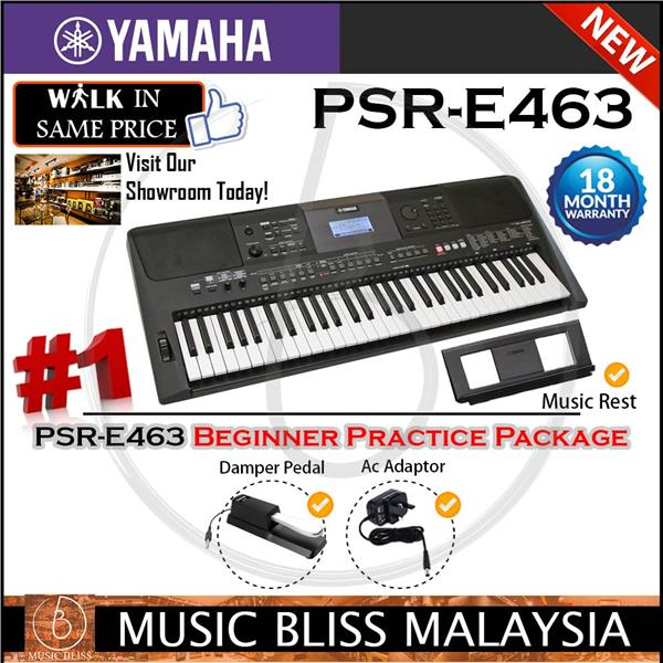Yamaha Keyboards PSR-E463 61-Keys Portable Keyboard with Damper Pedal