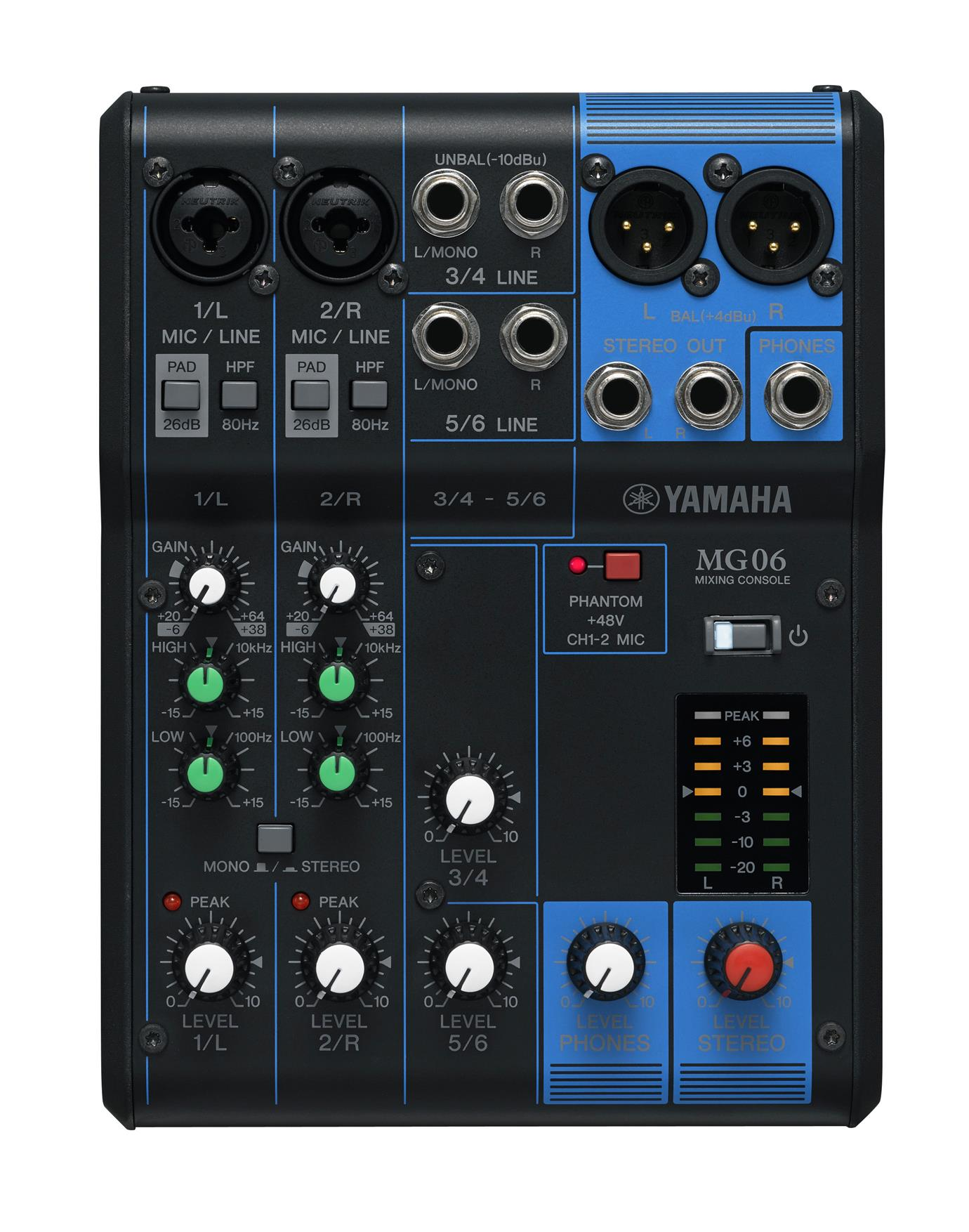 YAMAHA MG06 6-CHANNEL MIXING CONSOLE (MG-06/MG 06)