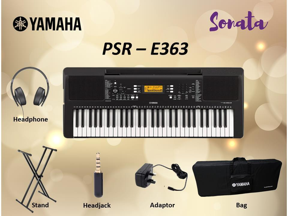 Yamaha PSR-E363 61-Keys Portable Keyboard Basic Package