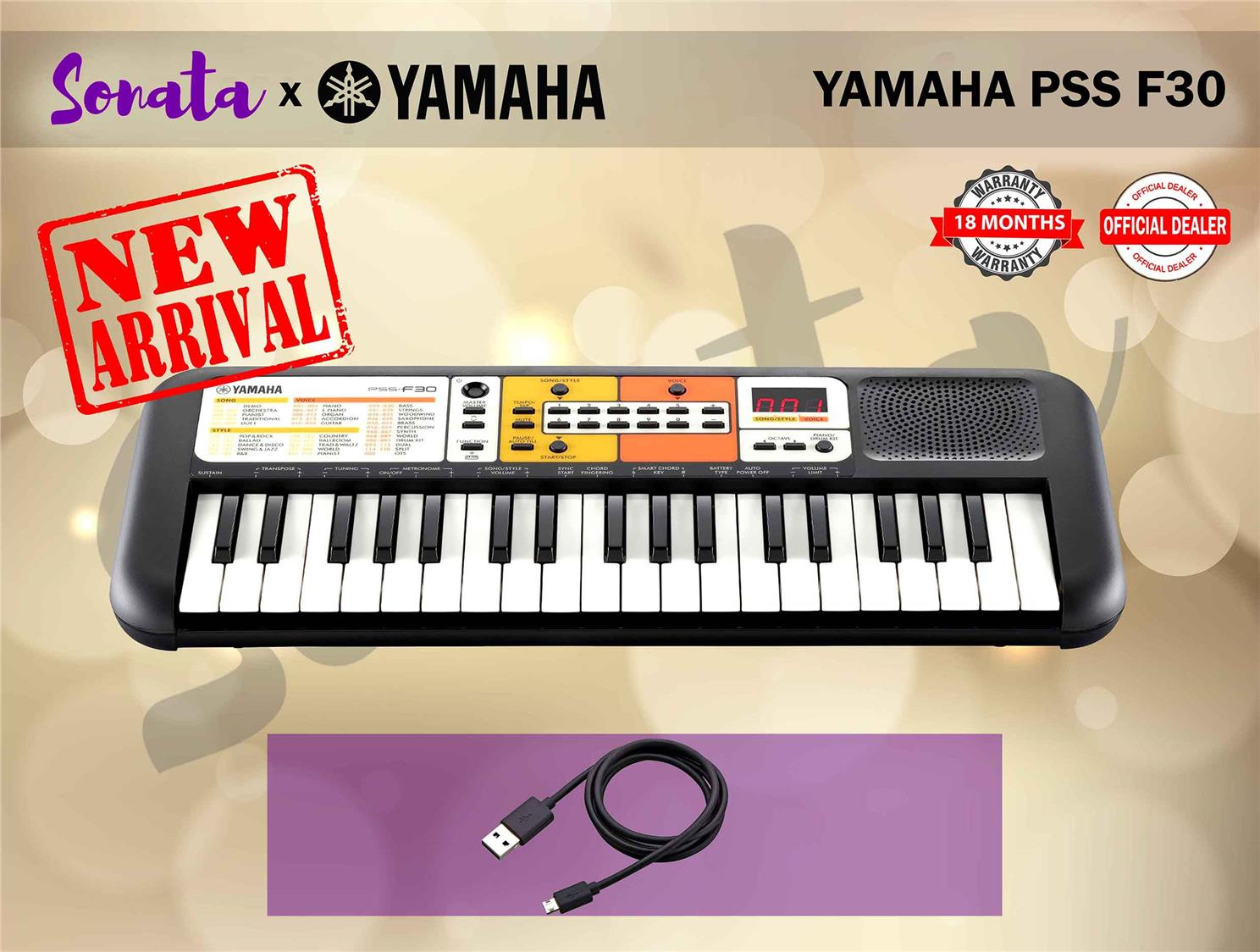 YAMAHA PSS-F30 37 Key Mini Keyboard  (PSSF30 / PSS F30) PACKAGE A