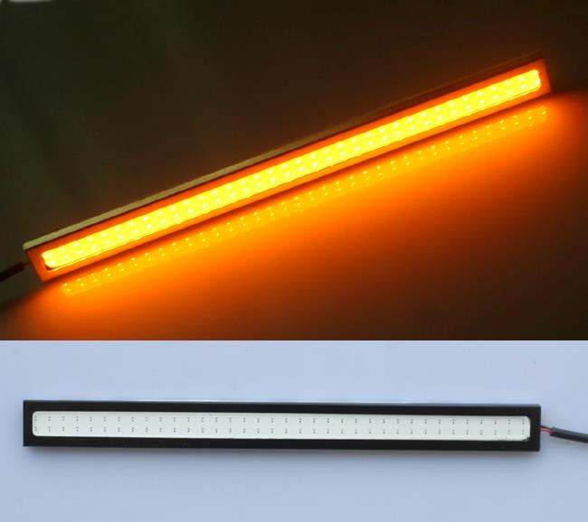 Yellow Amber Bright Slim Rectangle COB LED Daylight DRL [17cm Long]