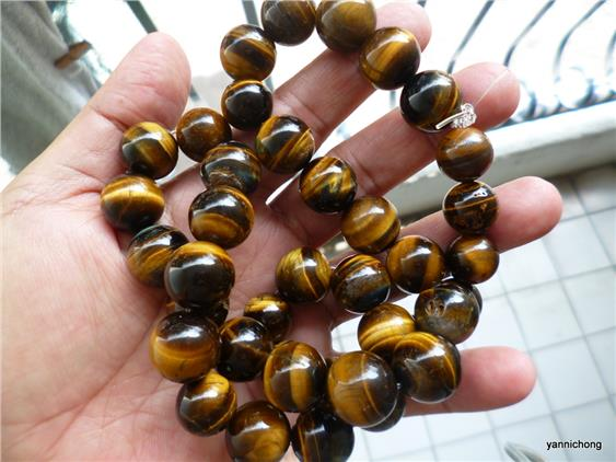 YELLOW BLACK TIGER EYE CRYSTAL NECKLACE
