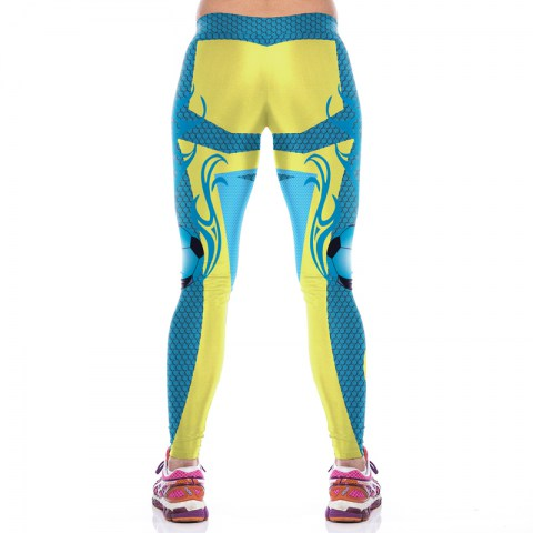 Yellow and blue printing fitness pants