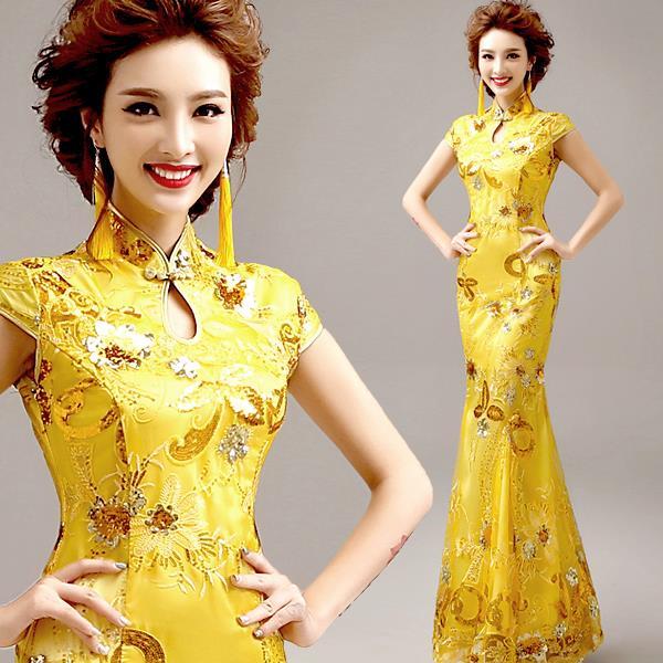 Yellow Bride Cheongsam Wedding Dinner Evening Dress 008