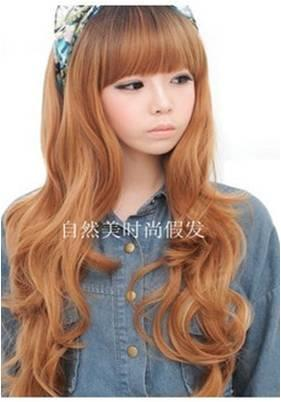 yellow brown long curve wig/ rambut palsu/ ready stock