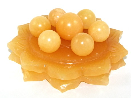 Yellow Jasper Crystal Balls on Star of David Lotus - Online Feng Shui
