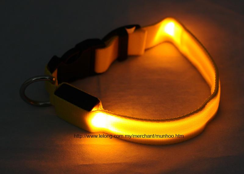 Yellow LED Pet Dog Neck Collar Strap Chain Buckle Lock Size S
