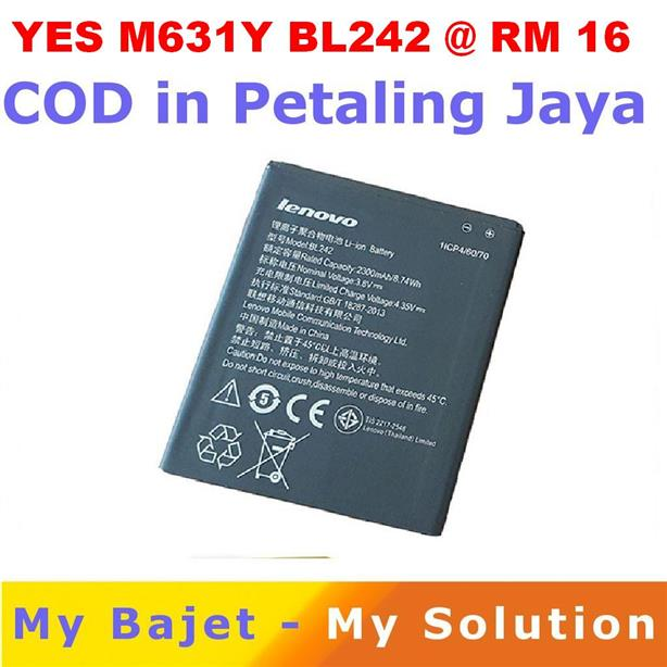 YES Altitude M631 Lenovo A6000 Plus K3 K30 T BL242 Battery 2300 MAh