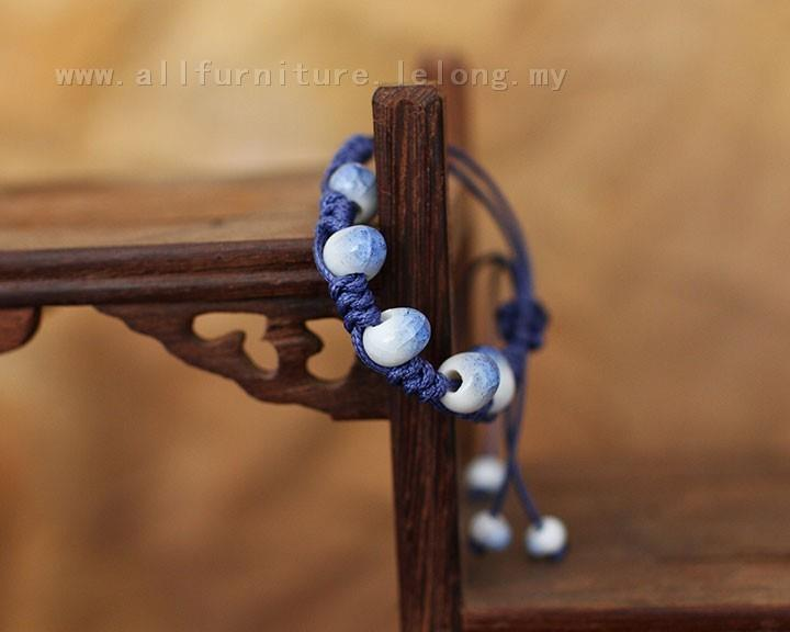 YN-6292	Blue stone beaded bracelet   蓝冰石串&..