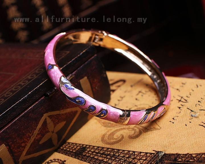 YN-6603	Three spike feathers flower color bangle  三穗&#32..