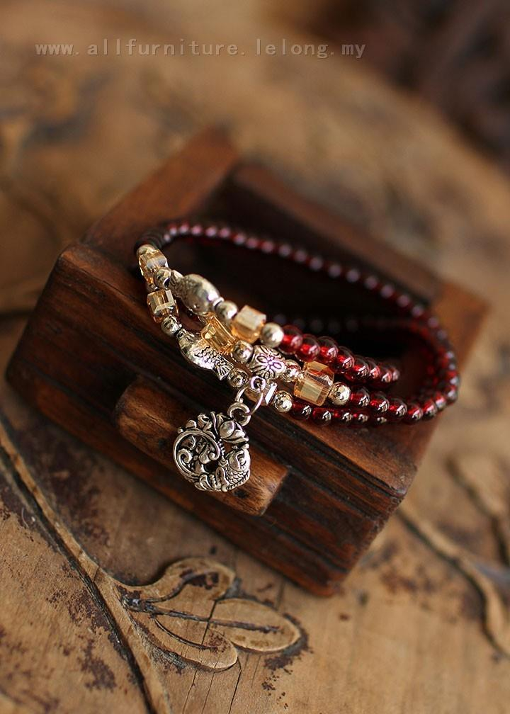 YN-6907	Three small fish garnet bracelets   三层小&#..