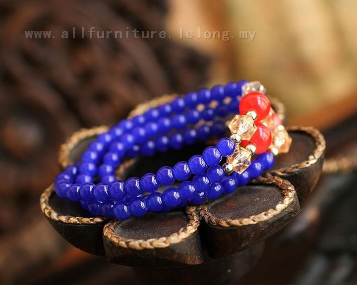 YN-6931	Multi-element blue agate bracelets   多元素&..