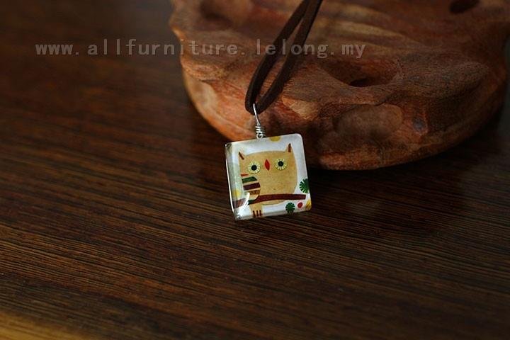 YN-7127	Double-sided square owl necklace  双面方&#24..