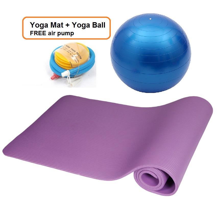 Yoga Fitness Exercise Gym Ball 65cm + Mat + Air Pump+ FREE Band