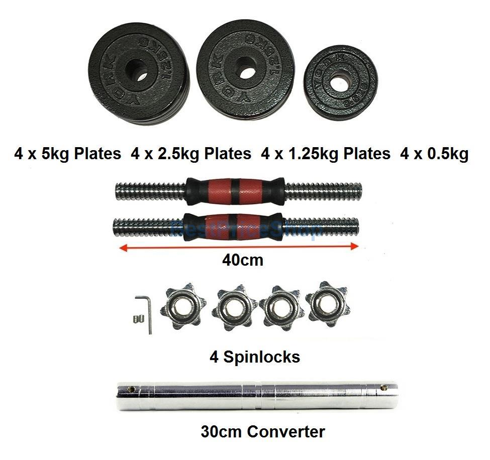 YORK 40kg Adjustable Cast Iron Dumbbell Set 30cm Barbell Connector