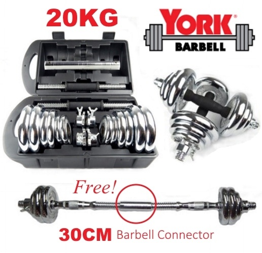 York Chrome Dumbbell Set 15kg: YORK Chrome Adjustable 20KG Dumbbell (end 3/9/2020 4:12 PM