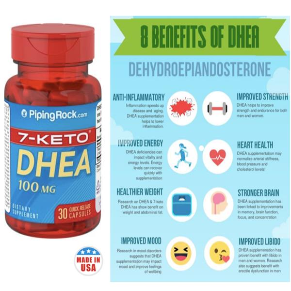 Younger, Energy & Stronger Body with DHEA 100mg (Made In USA)