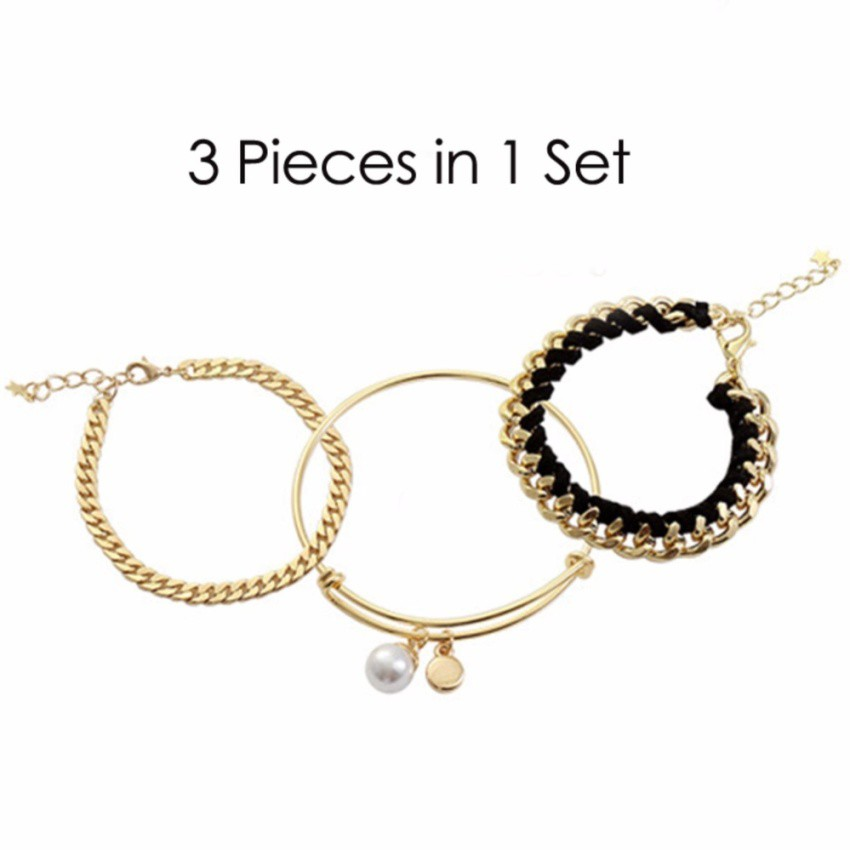Youniq Basic Korean 3 In 1 Ootd Gold Chain Bracelet And Pearl Bangle Set