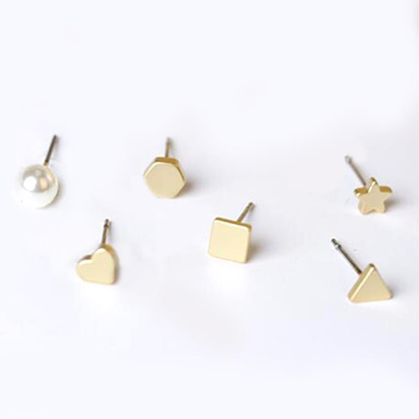 YOUNIQ-Basic Korean Chic Geo Earring Set (Gold)