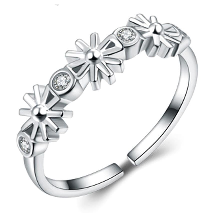 YOUNIQ-Basic Korean Silver CZ Sun Ring