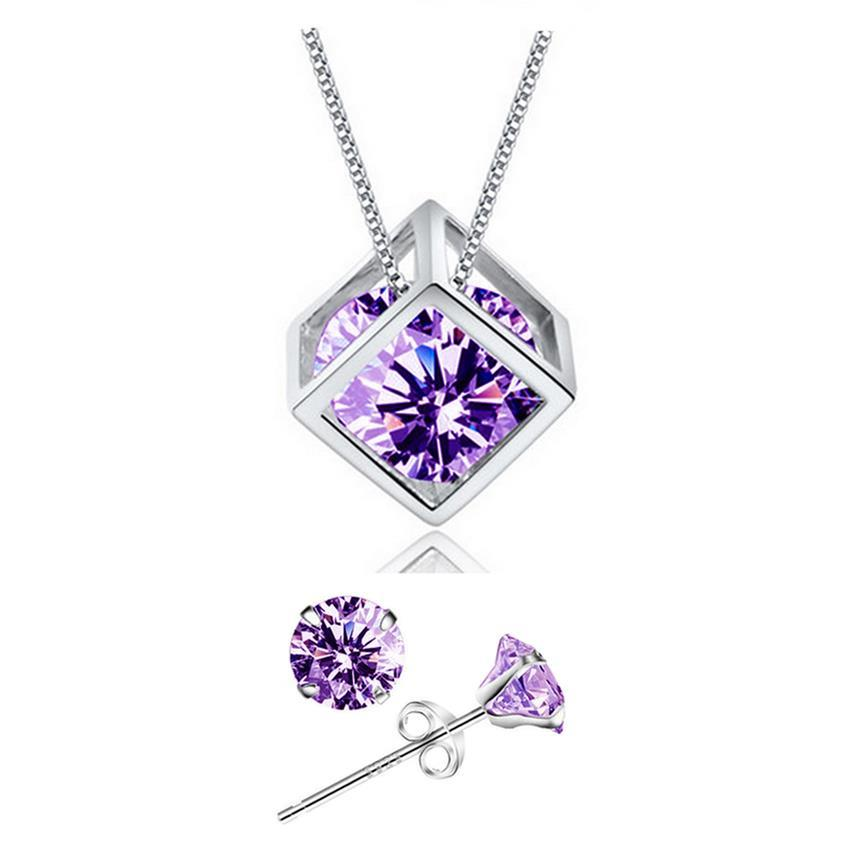 YOUNIQ Cube 925S.S Necklace Pendant with Purple C.Zirconia & Earrings
