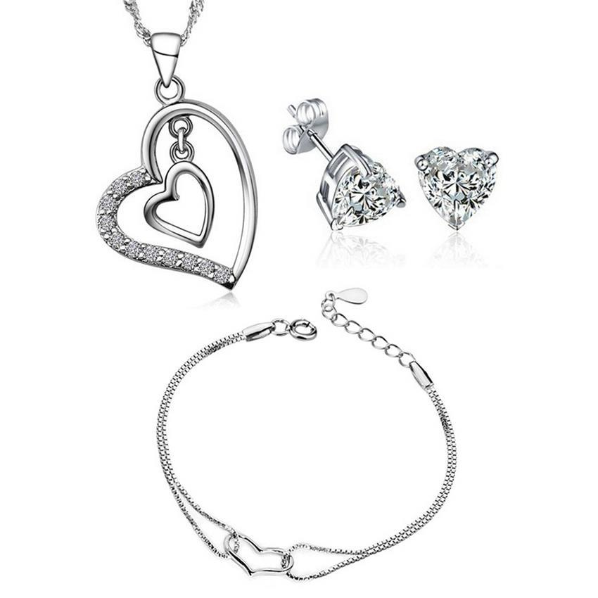Jewelry & Watches Bright Jewelry Set Heart Zirconia Silver 925 Pendant Earrings Quality Sterling Silver Making Things Convenient For Customers