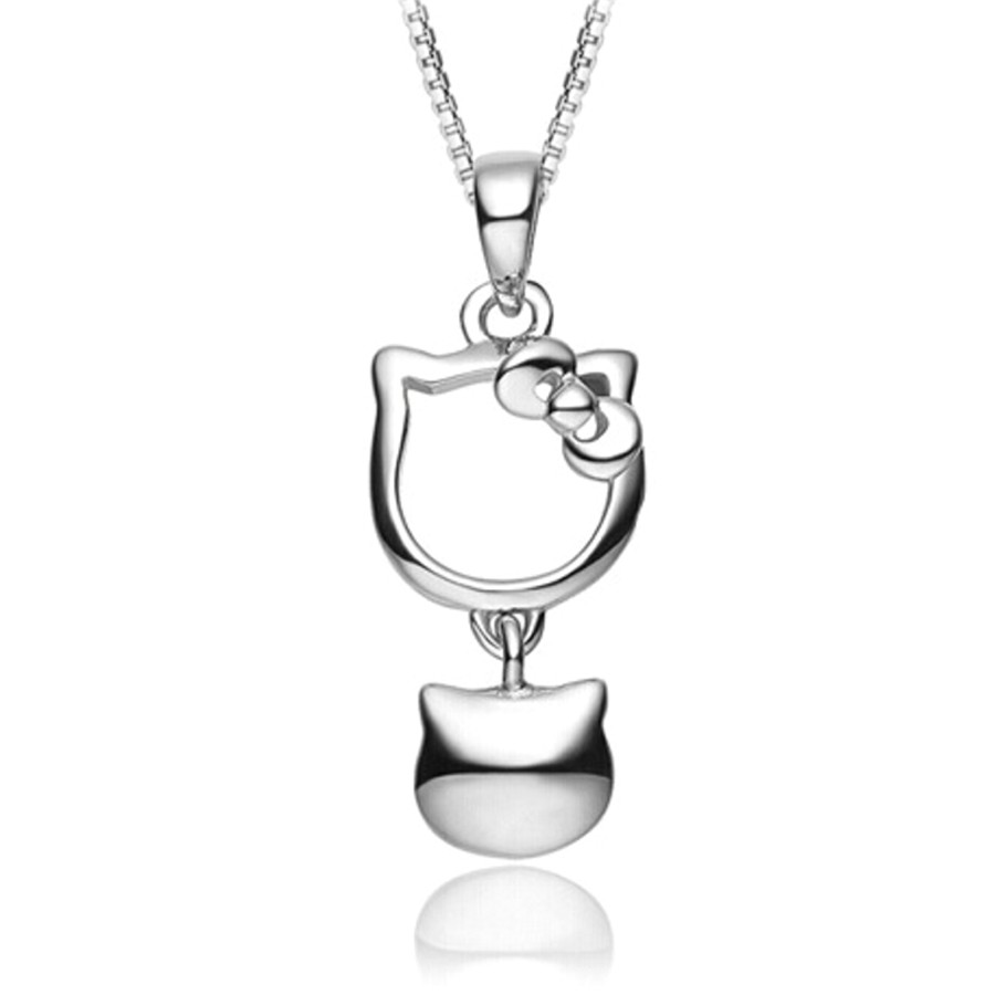 Youniq Kitty Bell 925 Sterling Silver Pendant With Cz  & Earrings Bracelet