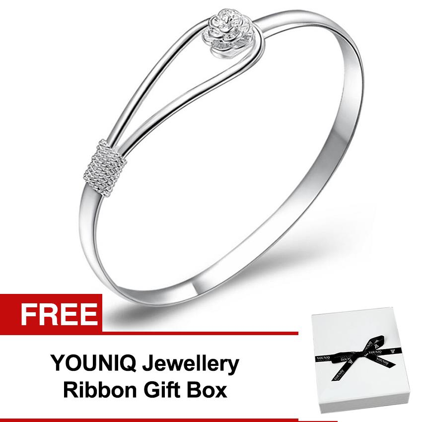 YOUNIQ Rose 999S Silver Plated Bangle