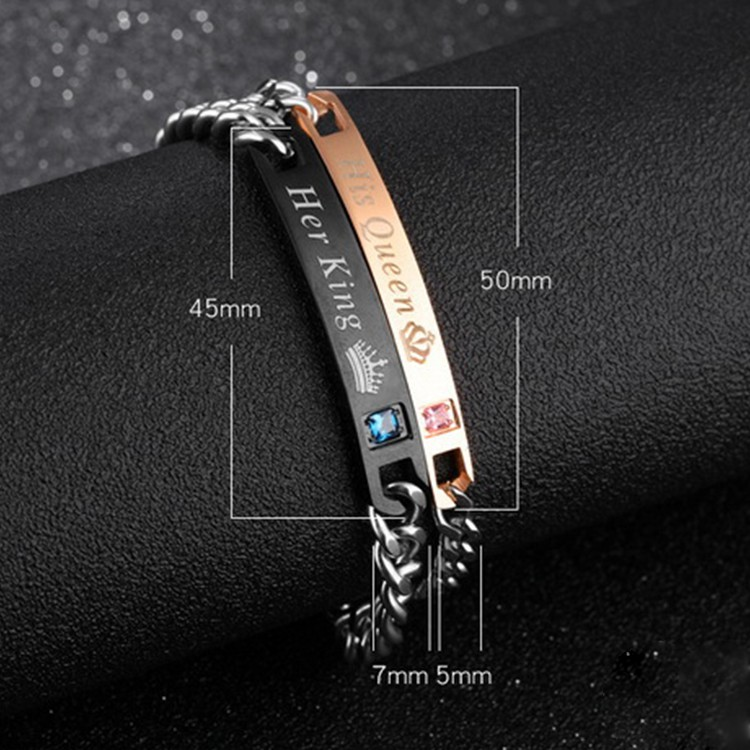 Youniq Titanium 18k Rosegold  & Black Steel Her King His Queen Couple Brac