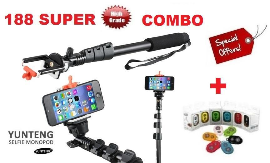 YunTeng 188 42cm-123cm SUPER COMBO( MONOPOD +HOLDER+ Bluetooth Remote)