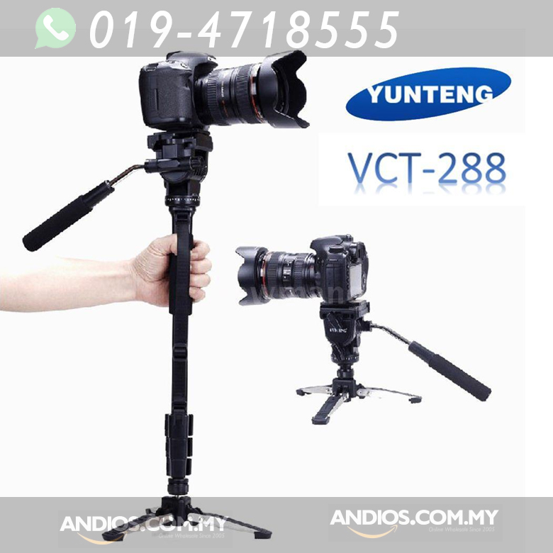 YUNTENG VCT-288 Camera Monopod + Fluid Pan Head + Tripod Holder For Ca
