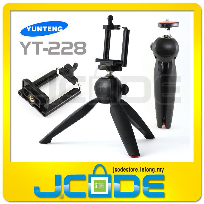 Yunteng YT-228 YT228 Selfie Tripod + Phone Holder Clip for Phone GoPro. ‹ ›