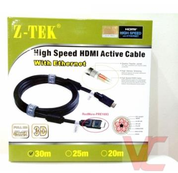 Z-TEK HDMI M TO HDMI M V1.4 30 METER CABLE WITH  BUILT-IN AMPLIFIER