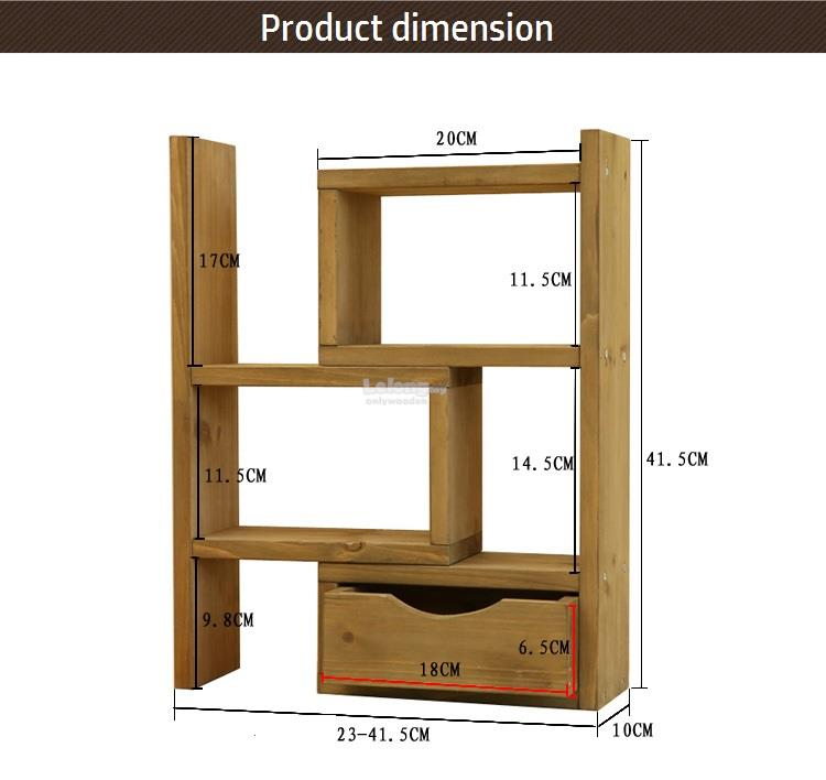 Z Wooden Desktop Shelves Retro Storage Collection Shelf Diy Rack