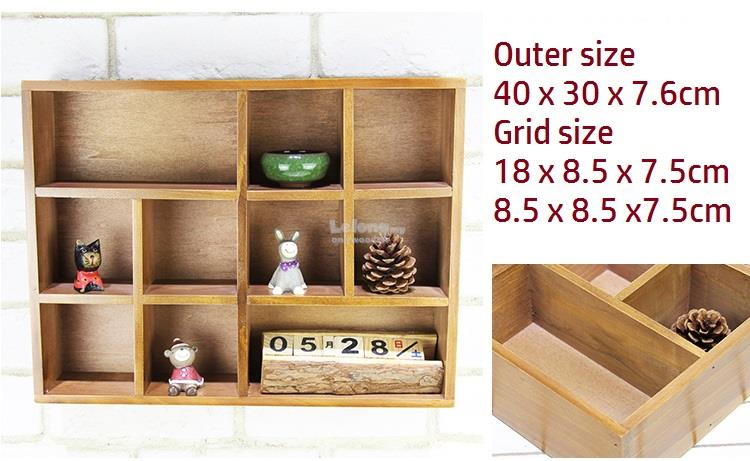 Zakka Wooden Wall Rack, Retro Storage Box, 10 Compartments