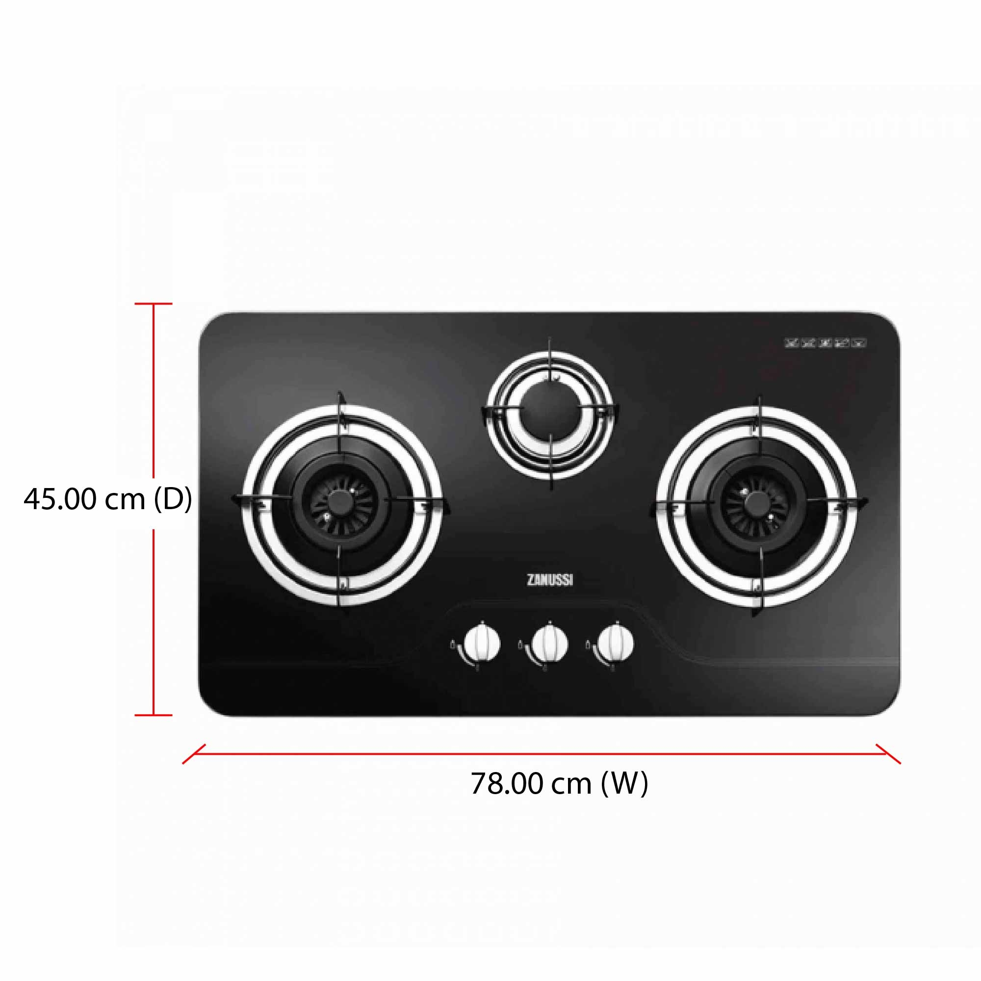 Zanussi Built-in Glass Hob ZGB752K (7600W) 78cm Enamel Pan Support