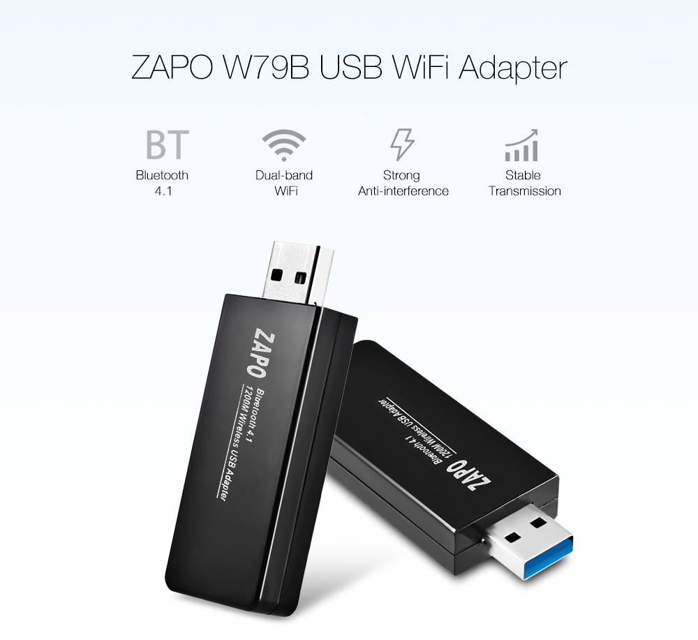 ZAPO W79B USB WiFi Adapter 1200M 2.4 / 5.8GHz BT4.1