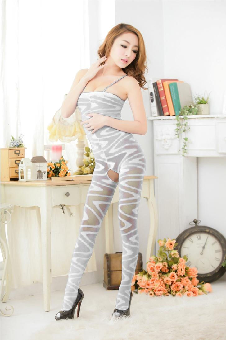 Zebra-Pattern Sling One Pcs Silk Stockings (White)