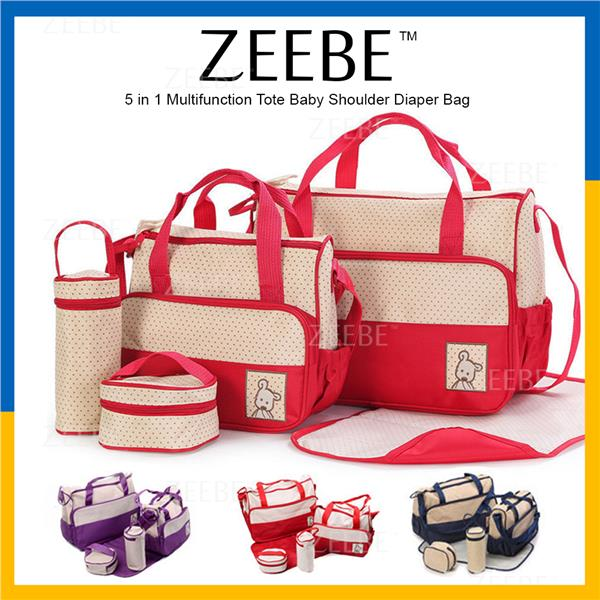 ZEEBE 5 in 1 Multi-Functional Tote Baby Shoulder Diaper Mommy Bags