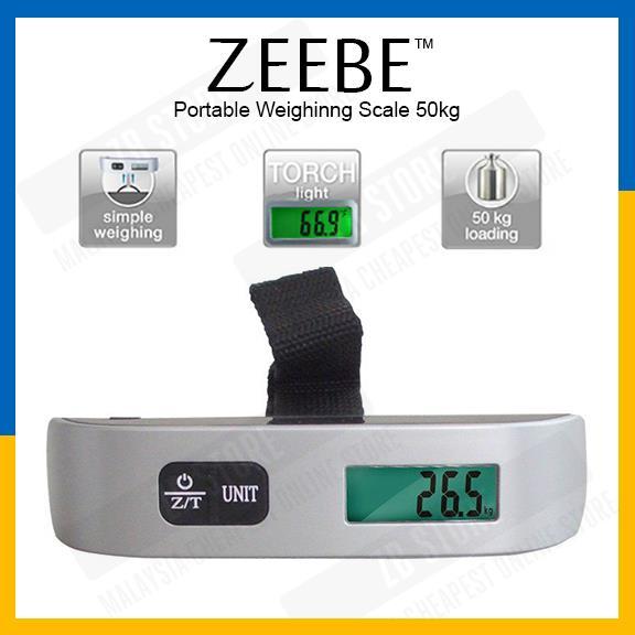 a85682a6e792 ZEEBE Portable Digital Hanging Luggage Scale Display 50kg WG-01