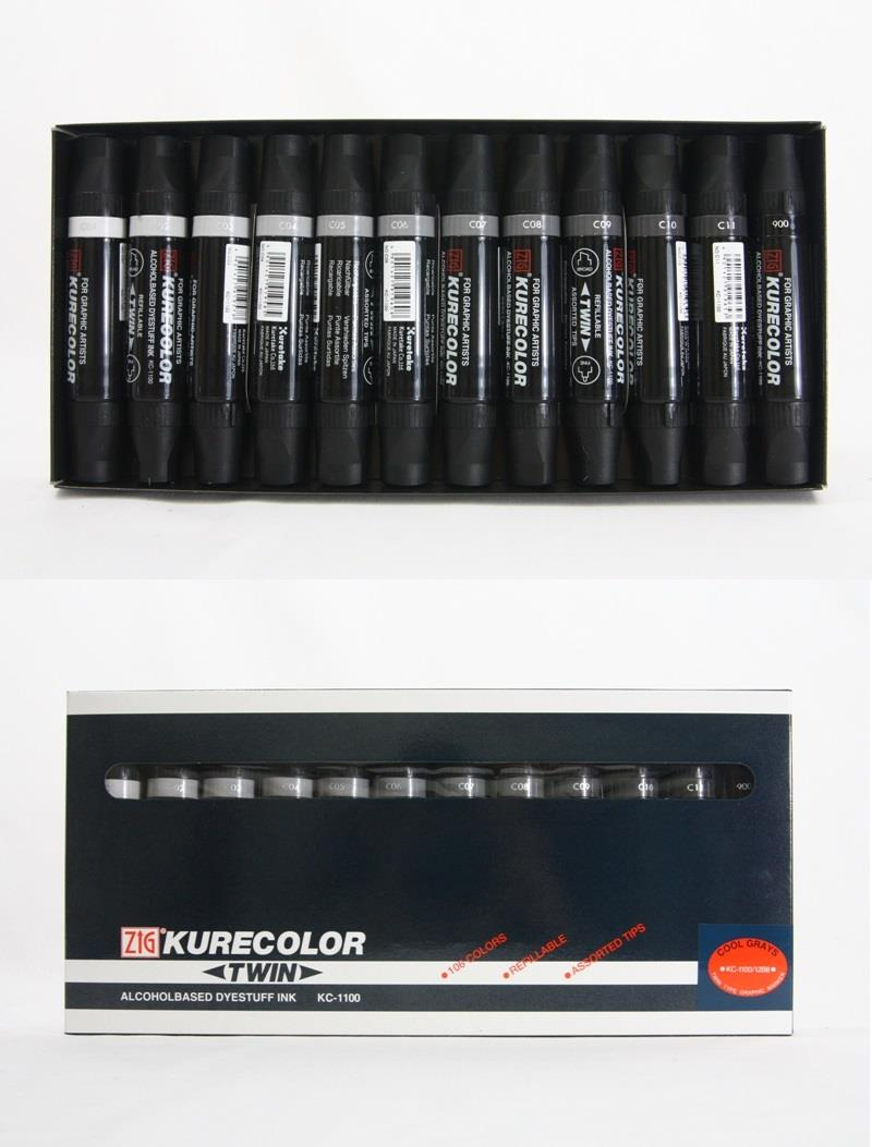 ZIG Kurecolor Dual Tip Cool Grays Set of 12pcs
