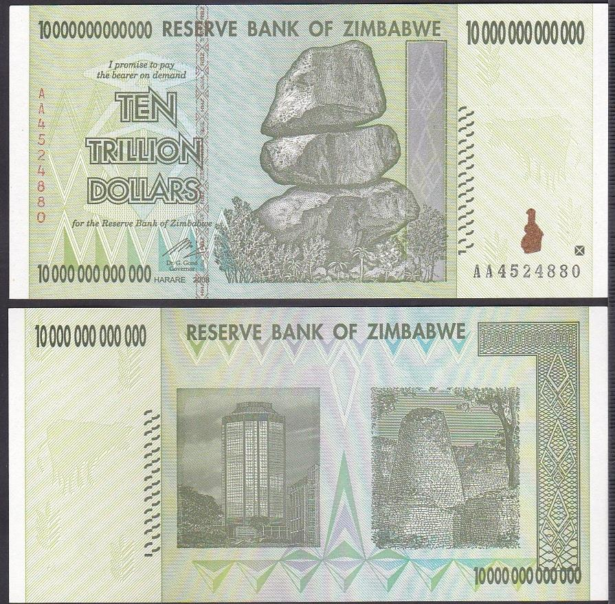 Zimbabwe 2008 10 Ten Trillion Dollars Unc