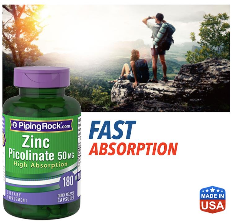 Zinc Picolinate 50 mg (High Absorption Zinc) 180 Capsules (USA)