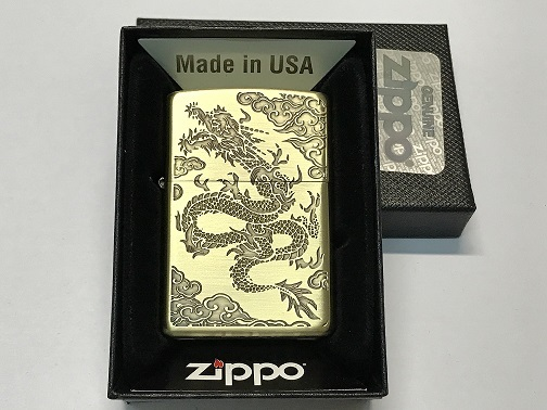 Zippo Lighter Antique Finish Brass Plate with Ecth Dragon (ZBT-3-35C)