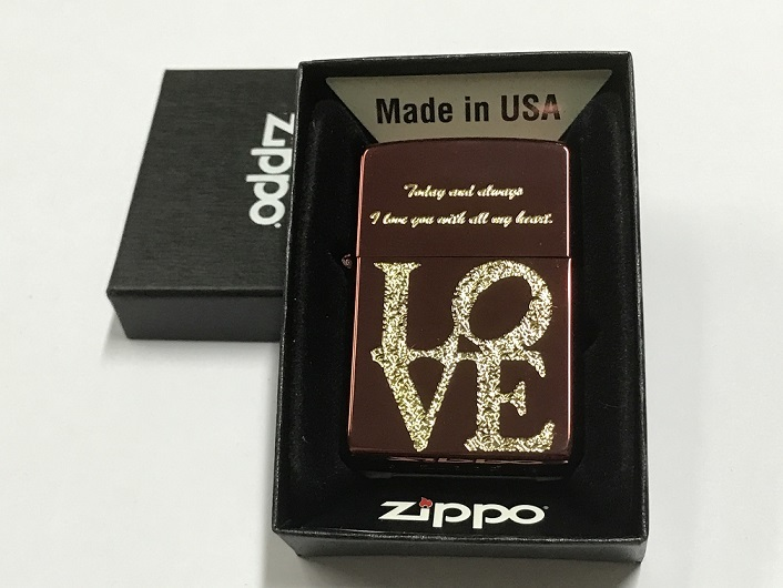 Zippo Lighter Gold Plate with Etch Color Coating with 'love'(Red) (ZBT