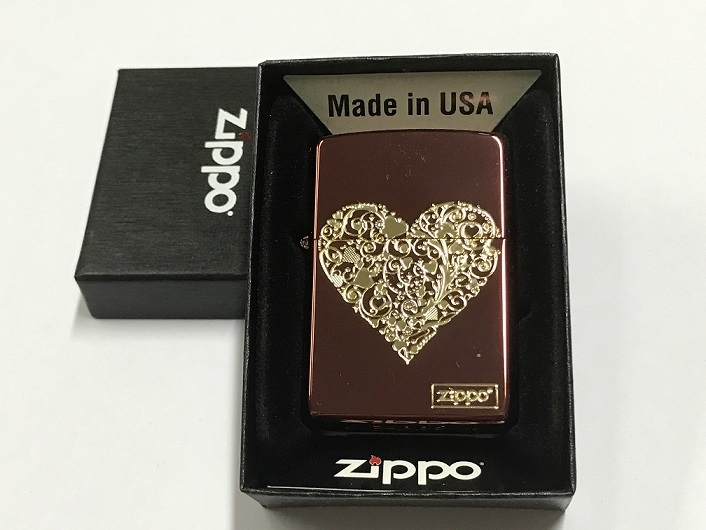 Zippo Lighter Good Plate with Etch Color Coating  with Gold Heart (Red